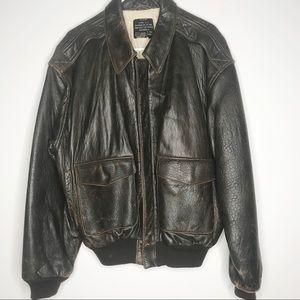 Avirex Air Force vintage leather bomber jacket Lg